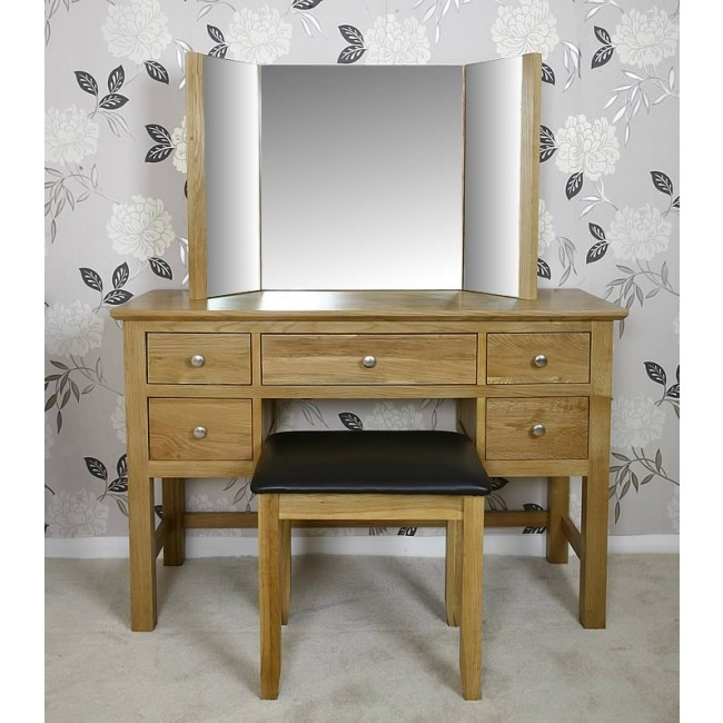 Glenmore Oak Dressing Table and Mirror Set   Best Price ...