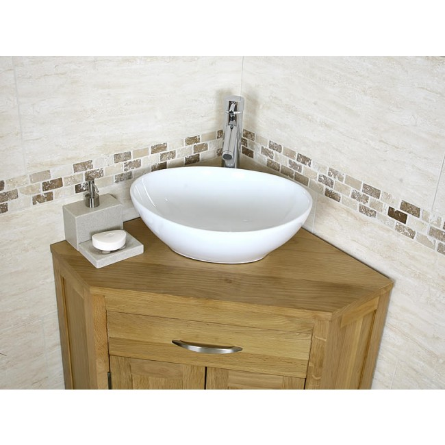 Mobel Oak Corner Bathroom Vanity Unit Best Price Guarantee