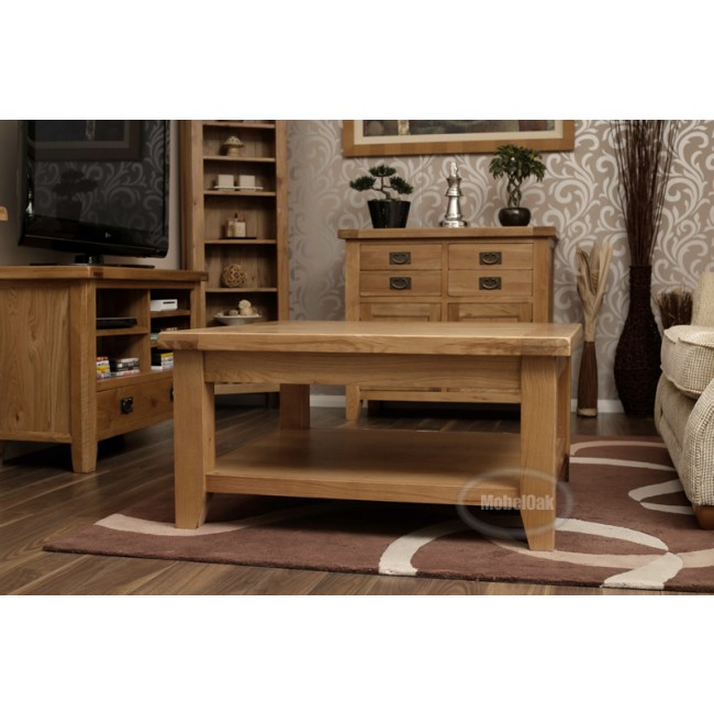 Vancoouver Rustic Oak Large Square Coffee Table Best Price Guarantee