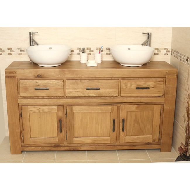 Rustic Double Oak Bathroom Vanity Unit